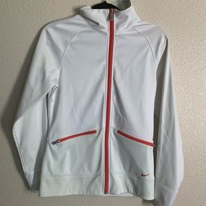 Nike Golf White Zip up with Red piping size small